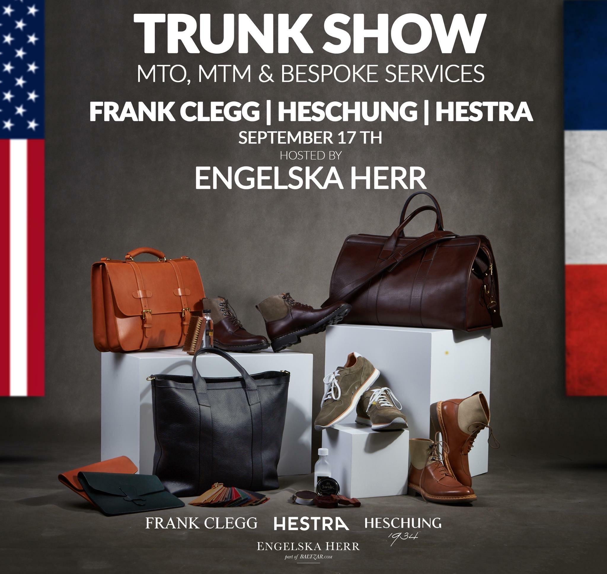 Trunk Show: Frank Clegg, Heschung & Hestra at Engelska Herr