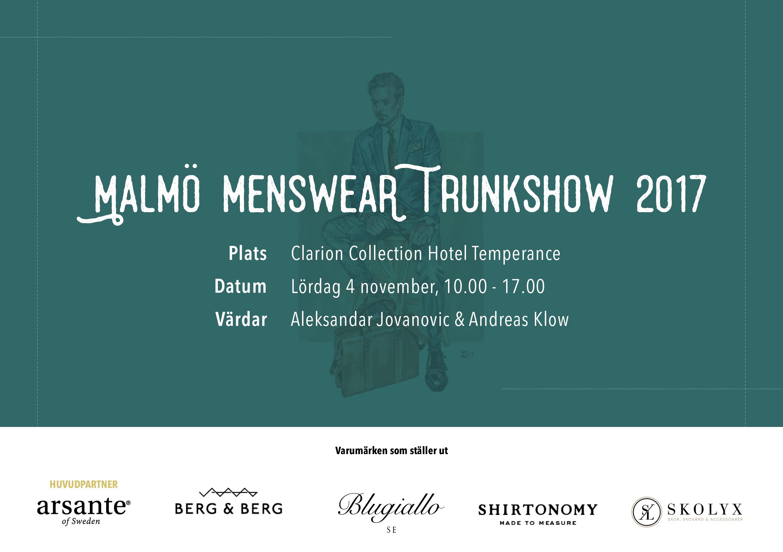 Malmö Menswear Trunkshow 2017 – 4 november @Clarion Collection Temperance