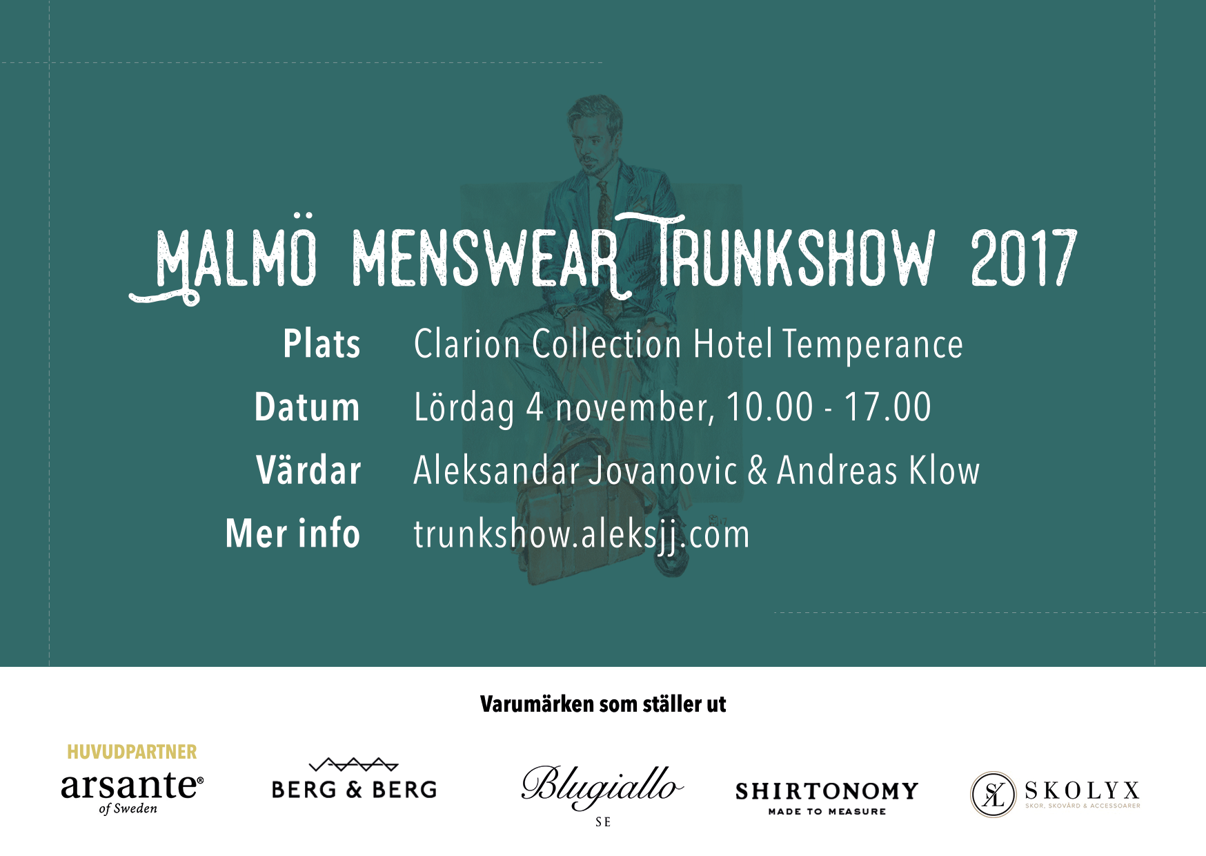 Malmö Menswear Trunkshow 2017 – 4 november @Clarion Collection Temperance